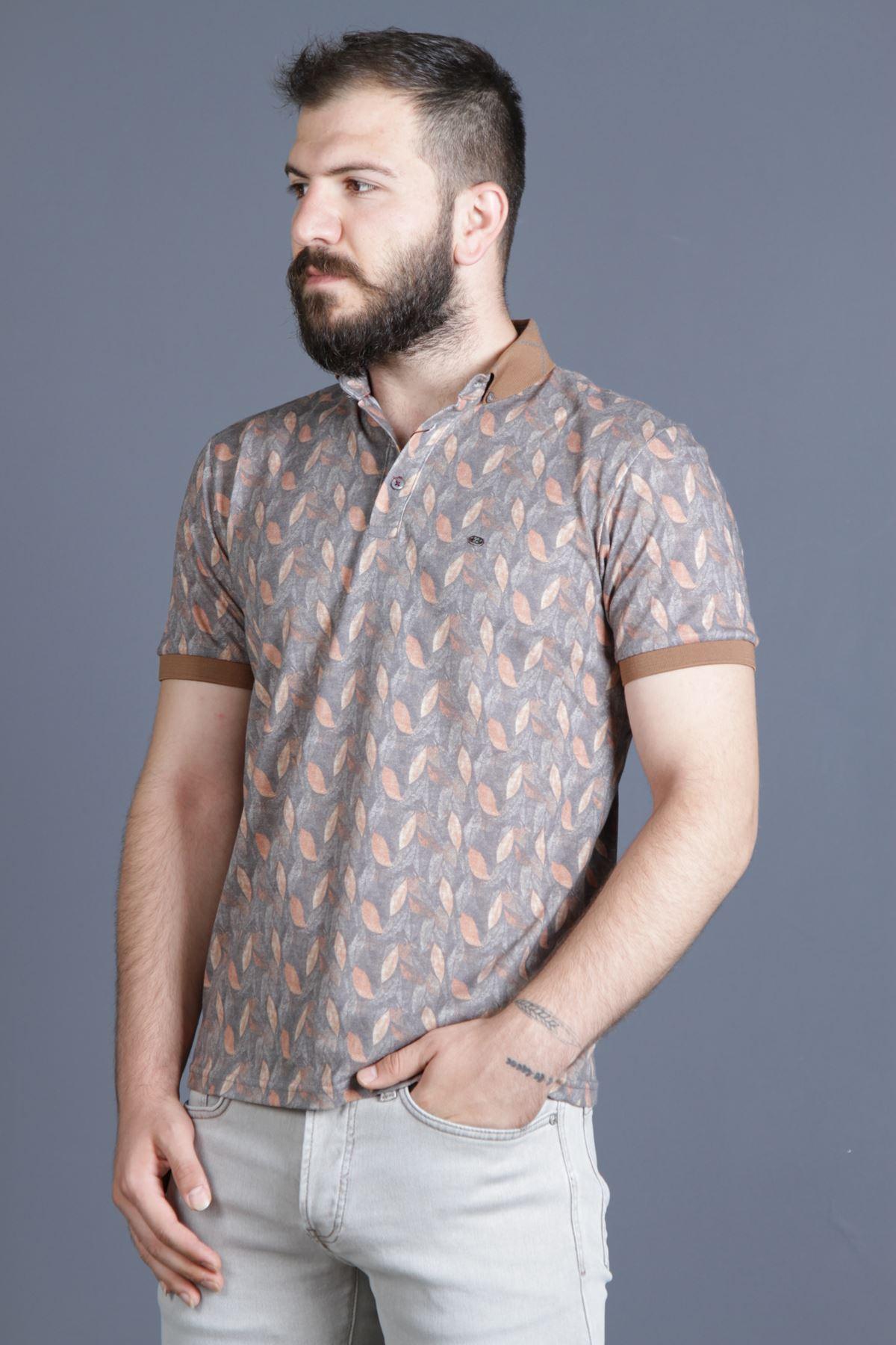 ERKEK TUGRA 40224 YAPRAK DESENLİ POLO YAKA t-shirt erkek