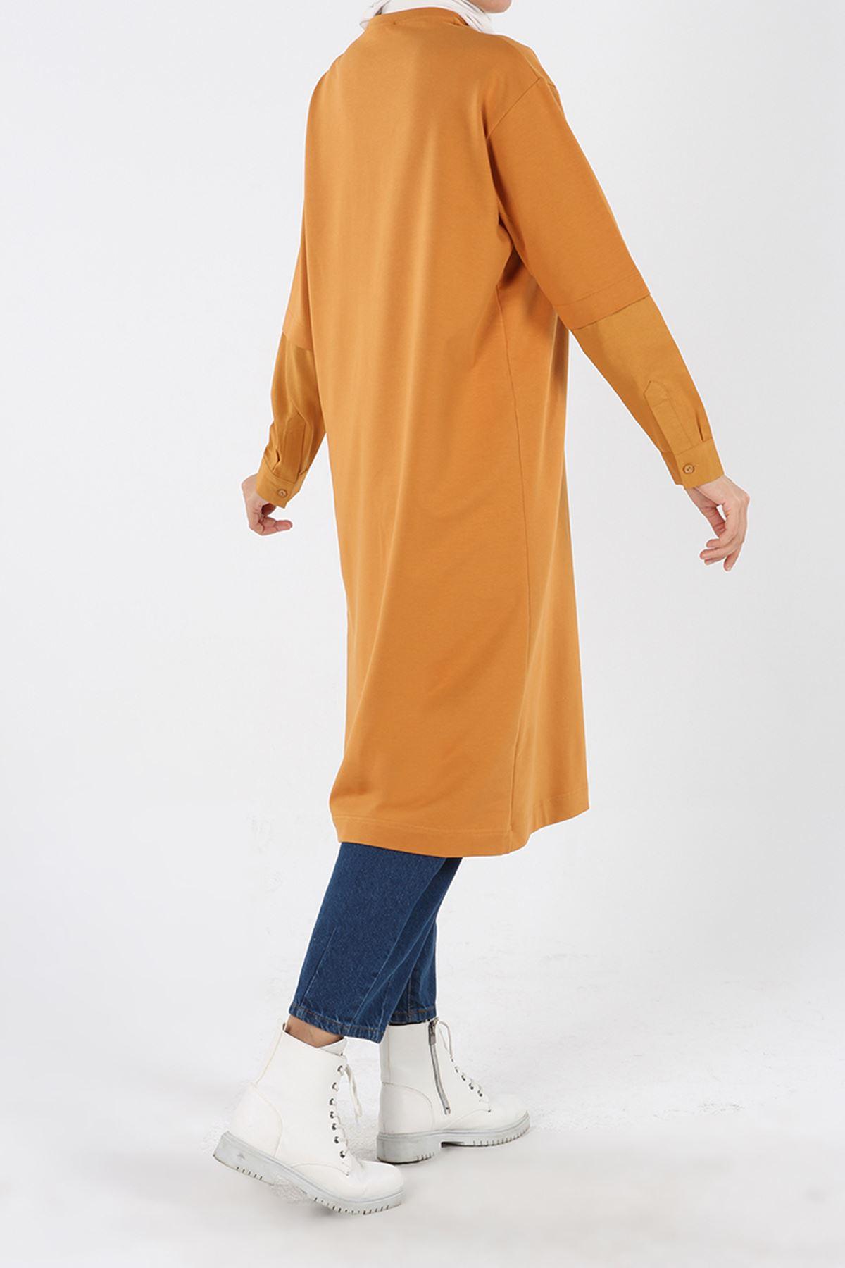 Hardal Kolu Gömlek Detaylı Garnili Tunik