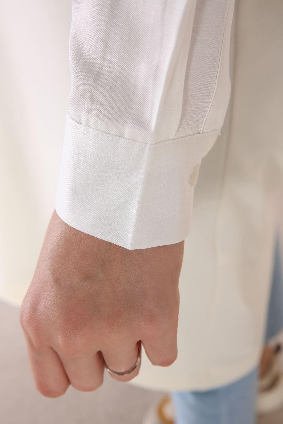 Ekru Kolu Gömlek Detaylı Garnili Tunik