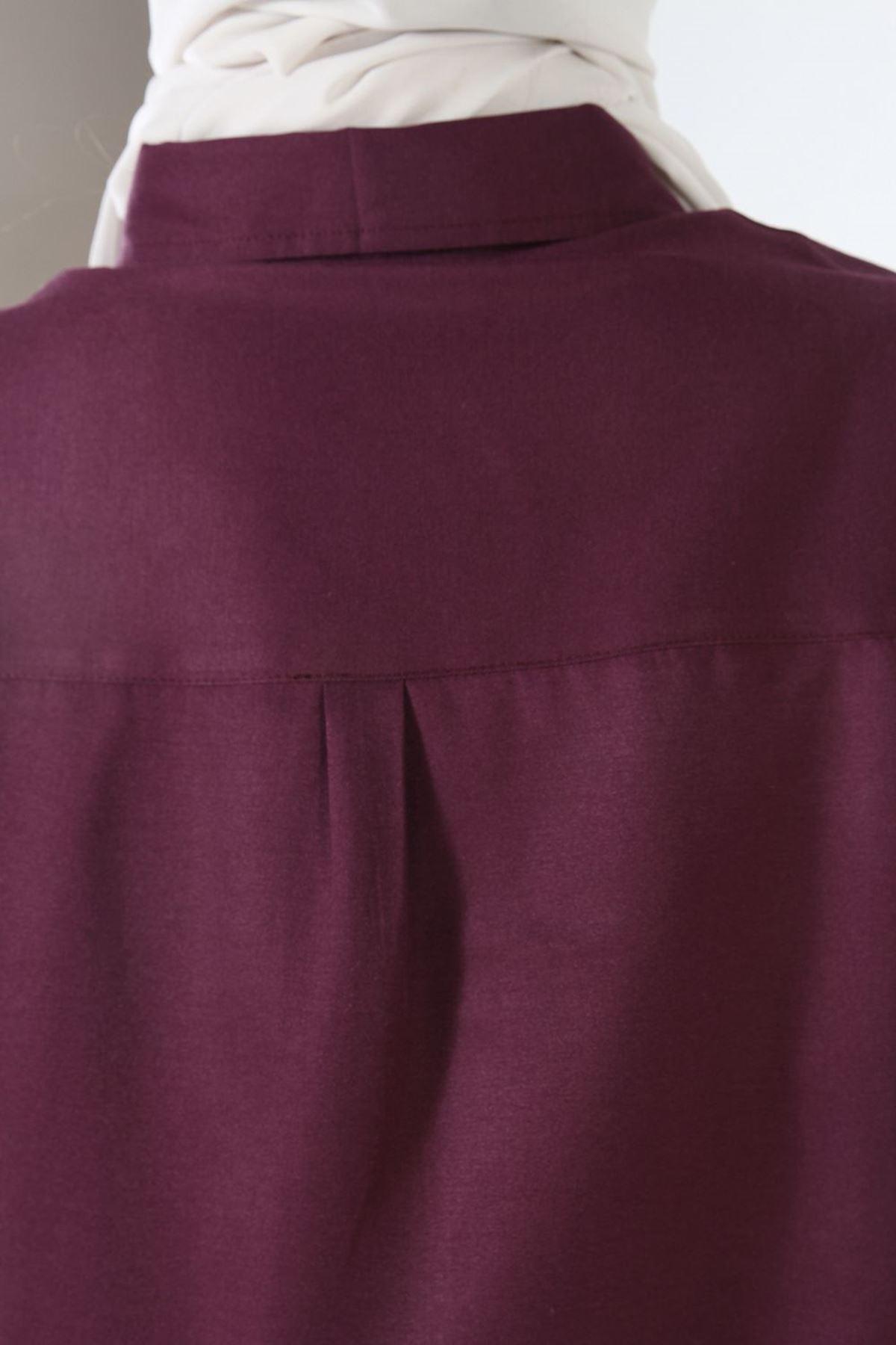 Mürdüm Yüksek Manşetli Düğmeli Gömlek Tunik