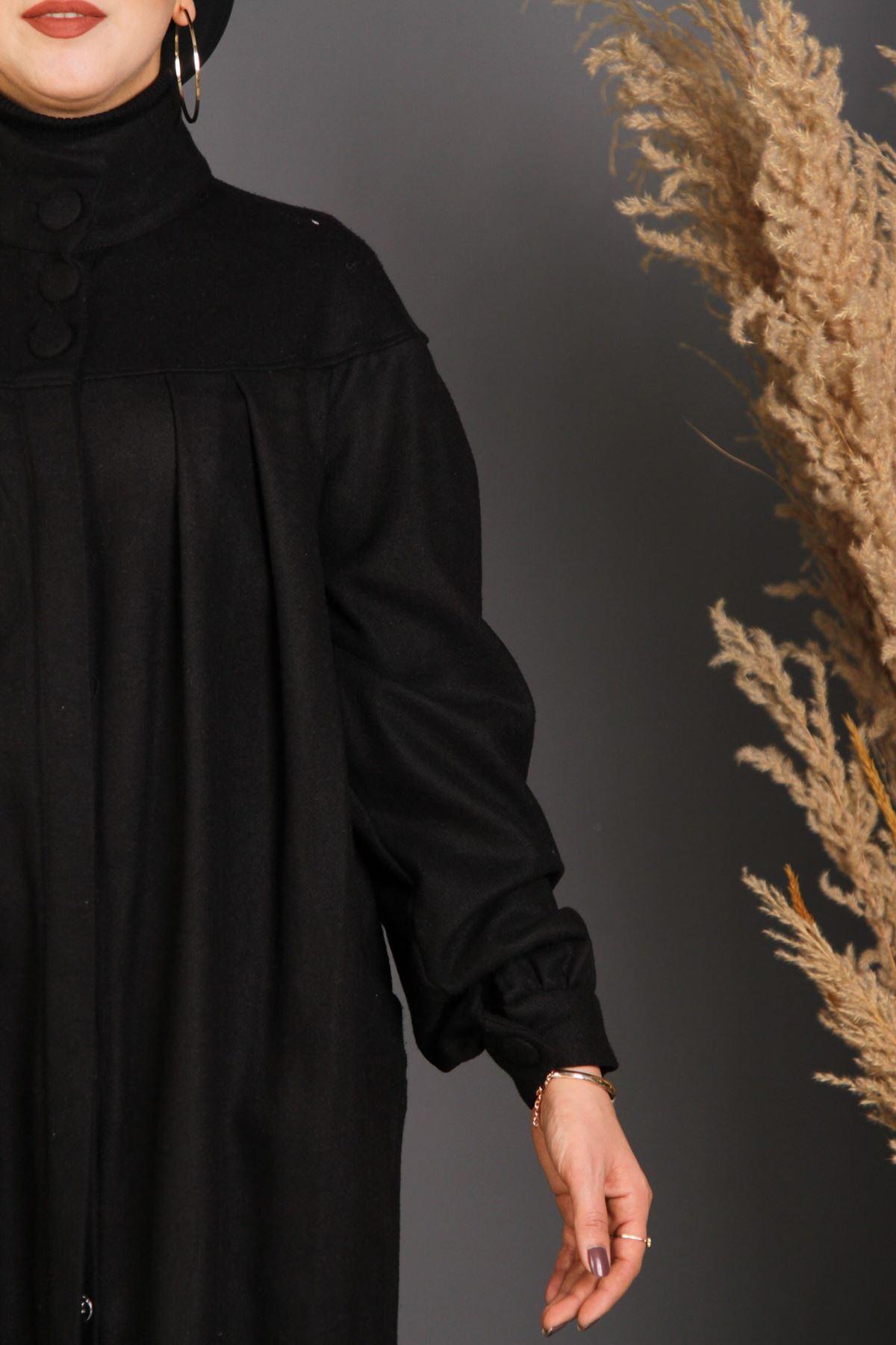 Kadın Büzgülü Kaban - Siyah