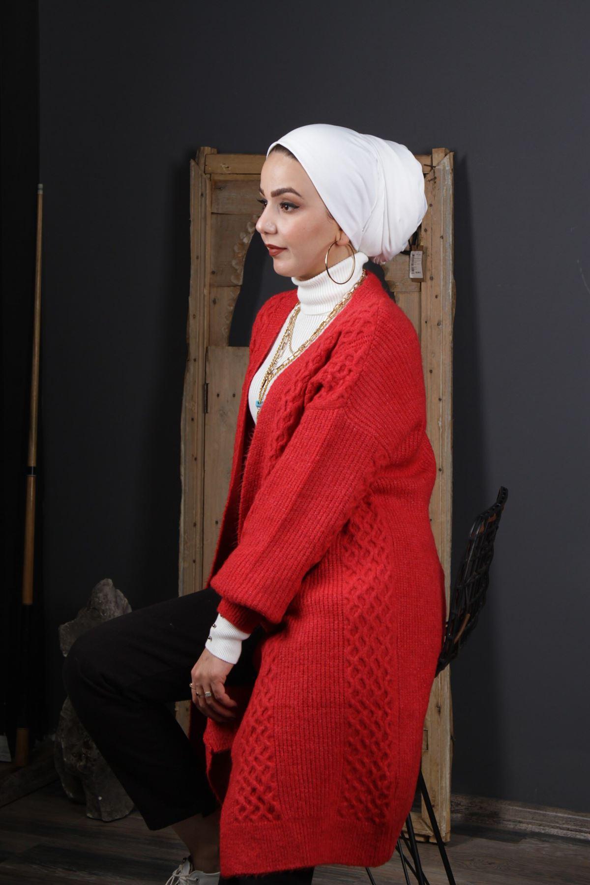 Kadın Triko Hırka - Kırmızı