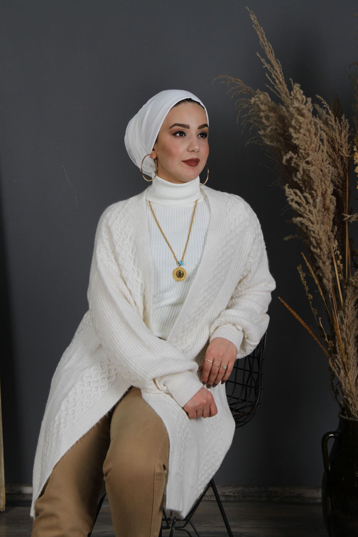 Kadın Triko Hırka - Beyaz