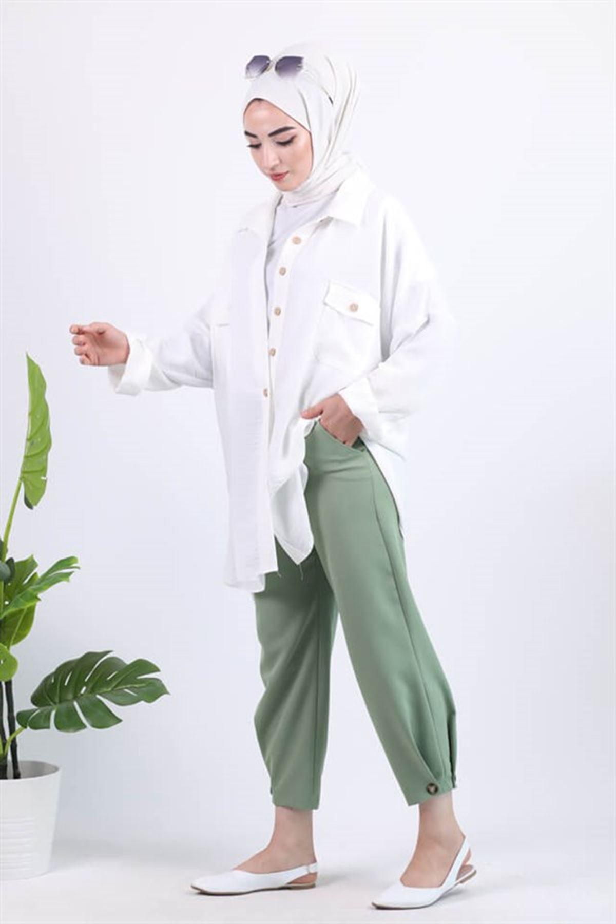 Kadın Bileği Düğme Detaylı Pantolon - Yeşil