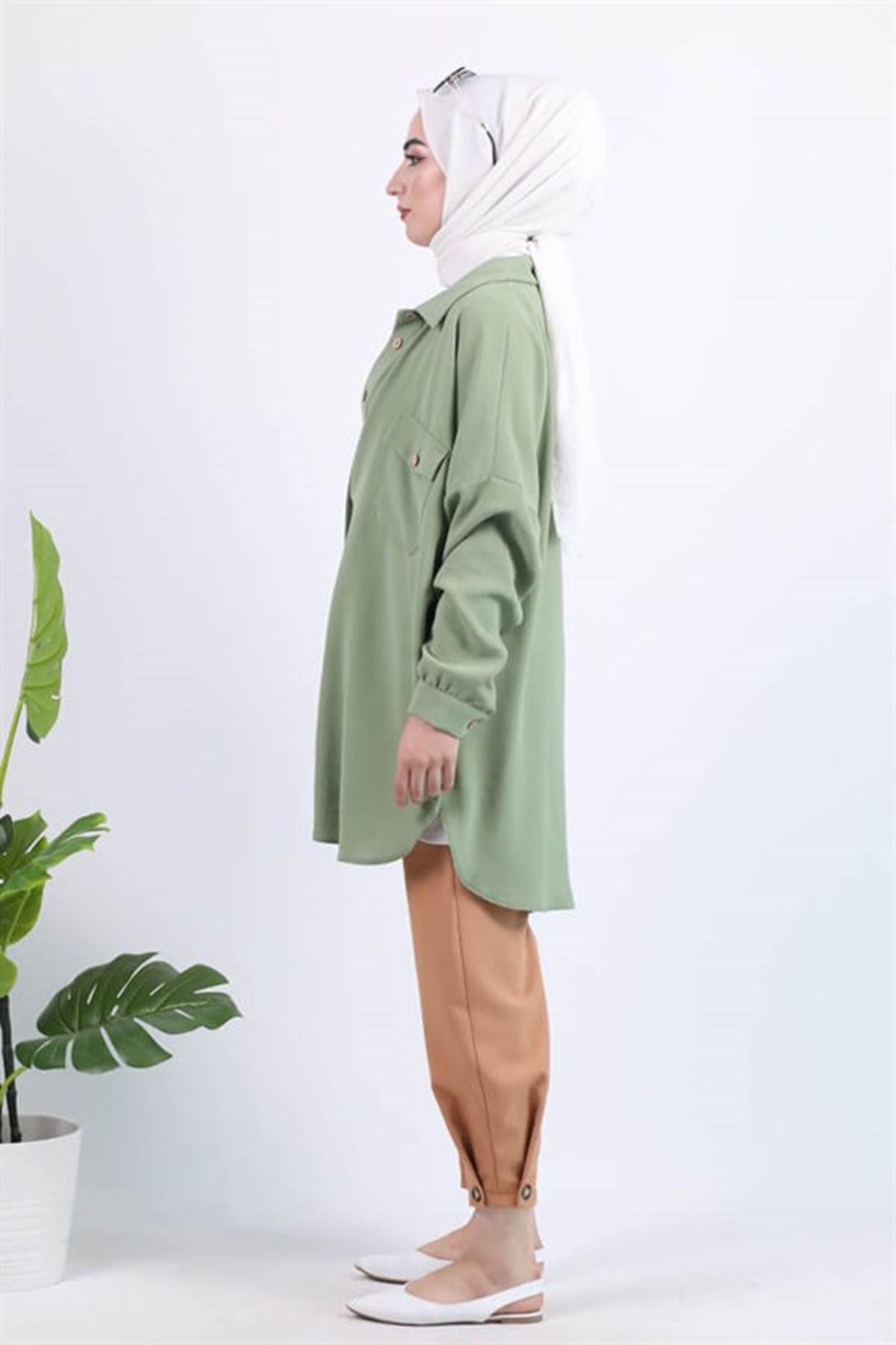 Kadın Bileği Düğme Detaylı Pantolon - Somon