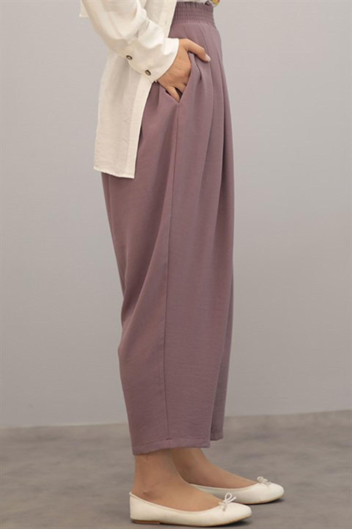 Kadın Pileli Salaş pantolon - Lila