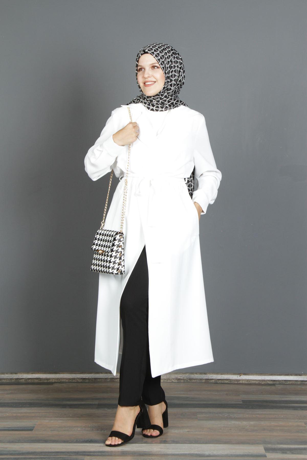 QUQA Kadın Kruvaze Kap - Beyaz
