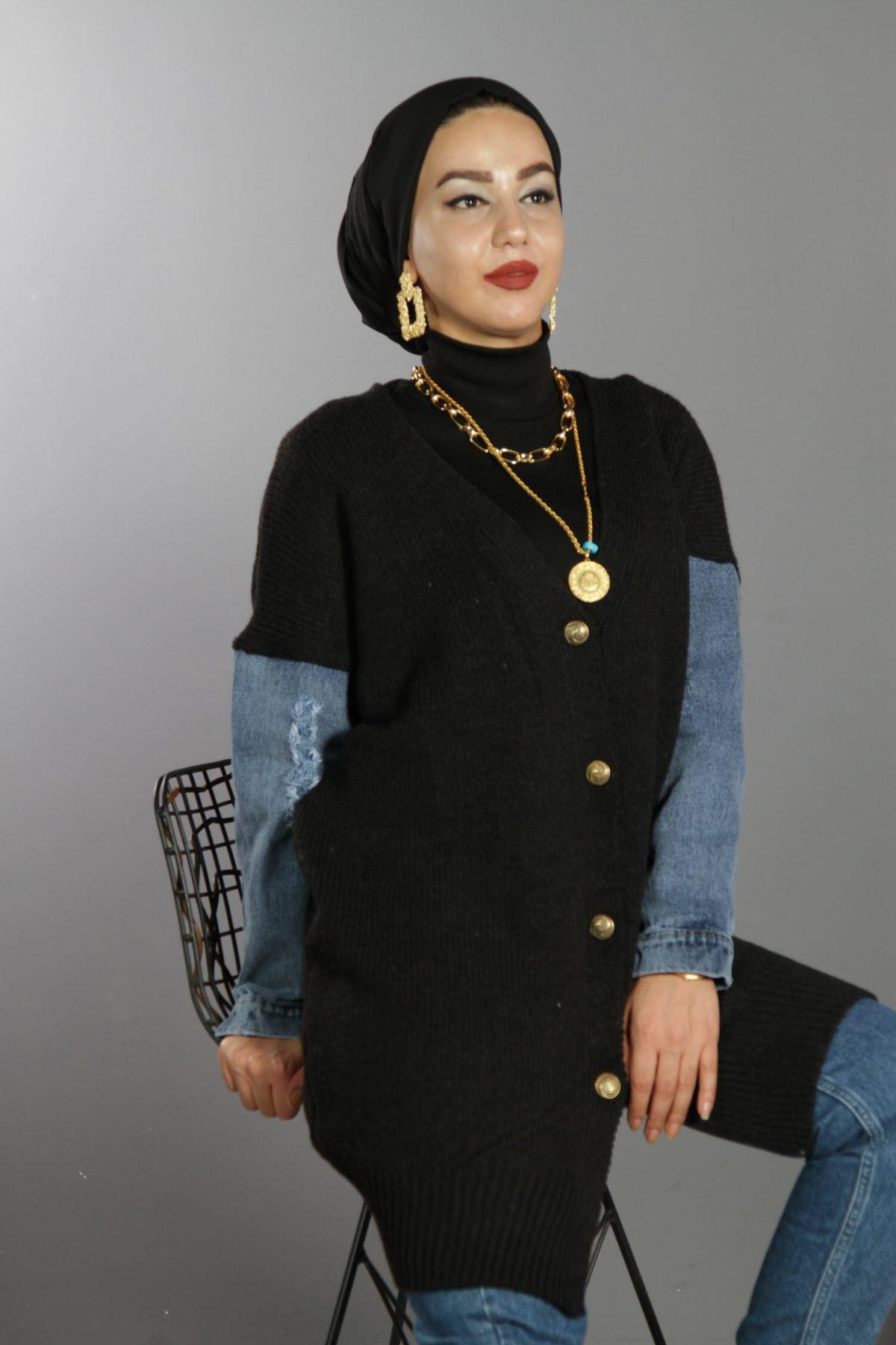 Kot Garnili Uzun Önü Düğmeli Hırka - Siyah