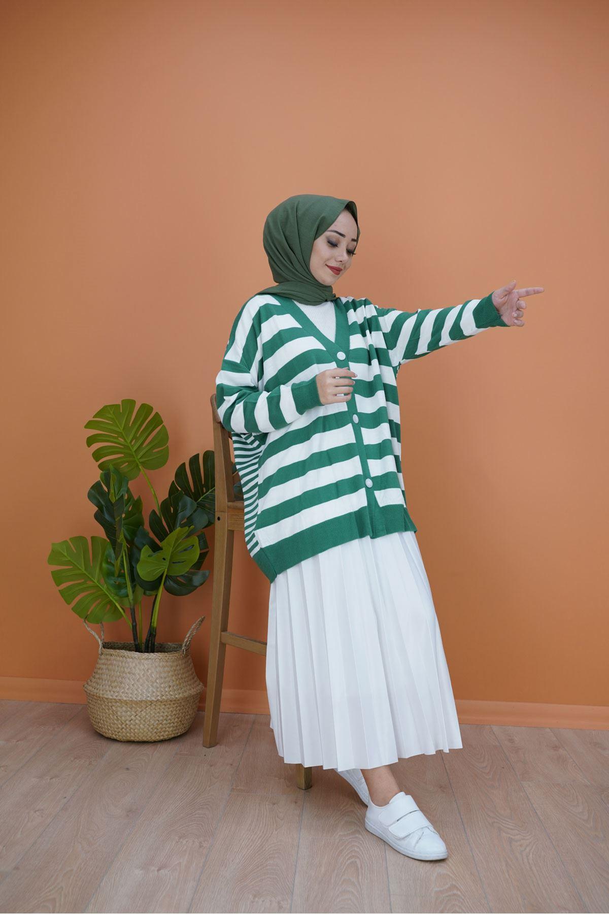 Kadın Çizgili Salaş Hırka - Yeşil