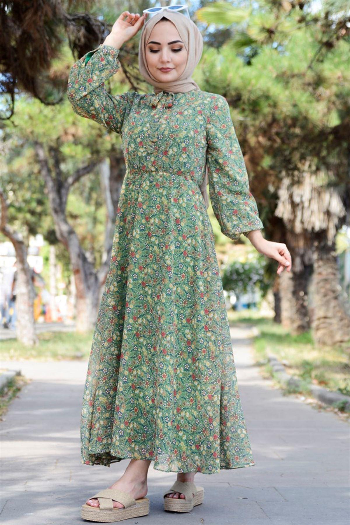 Kadın Çiçek Desenli Şifon Elbise - Açık Yeşil