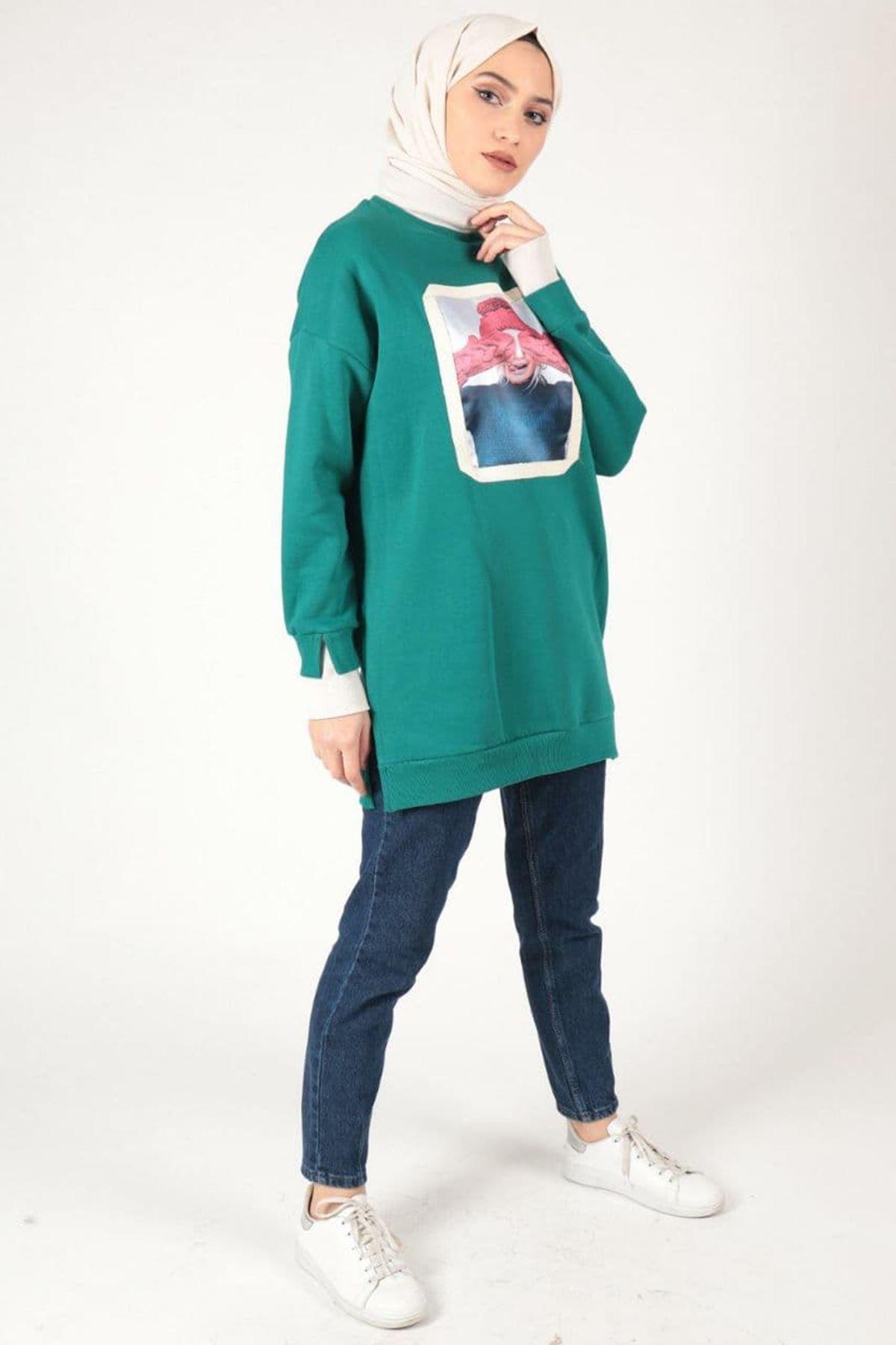 Kadın Baskılı Üç İplik Tunik - Petrol Yeşili