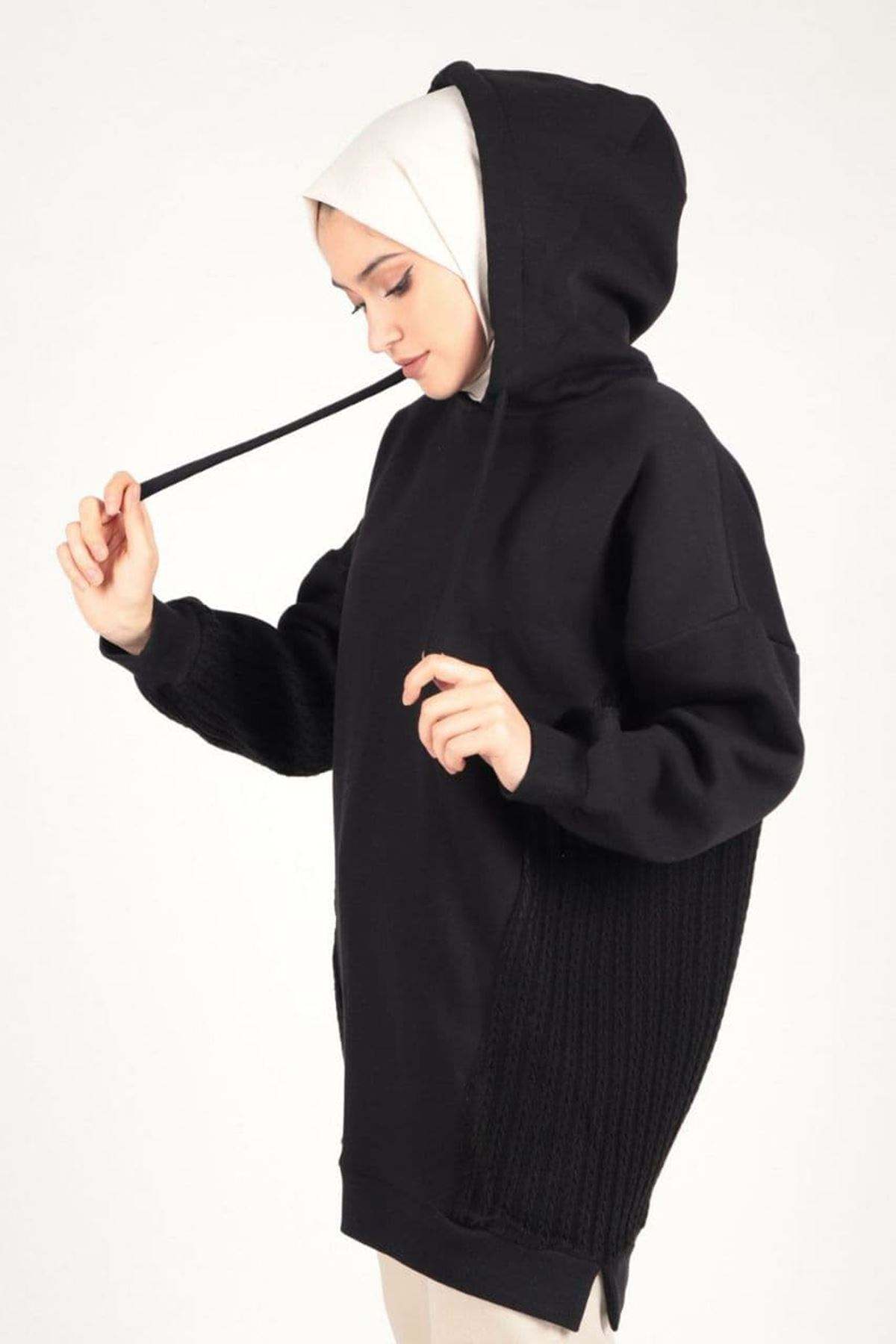 Kadın Triko Detaylı Kapişonlu Tunik - Siyah
