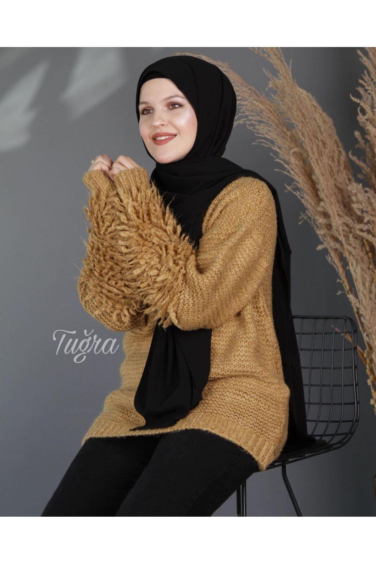 Kadın Saçaklı Kazak - Camel