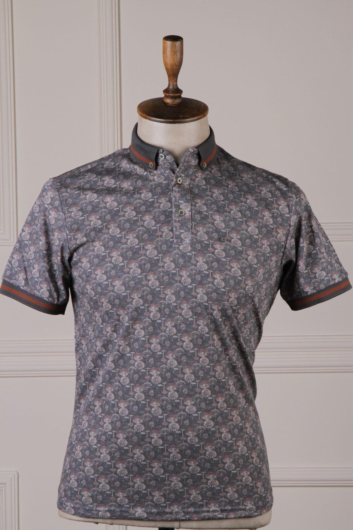 Erkek Desenli Polo T-Shirt - Antrasit