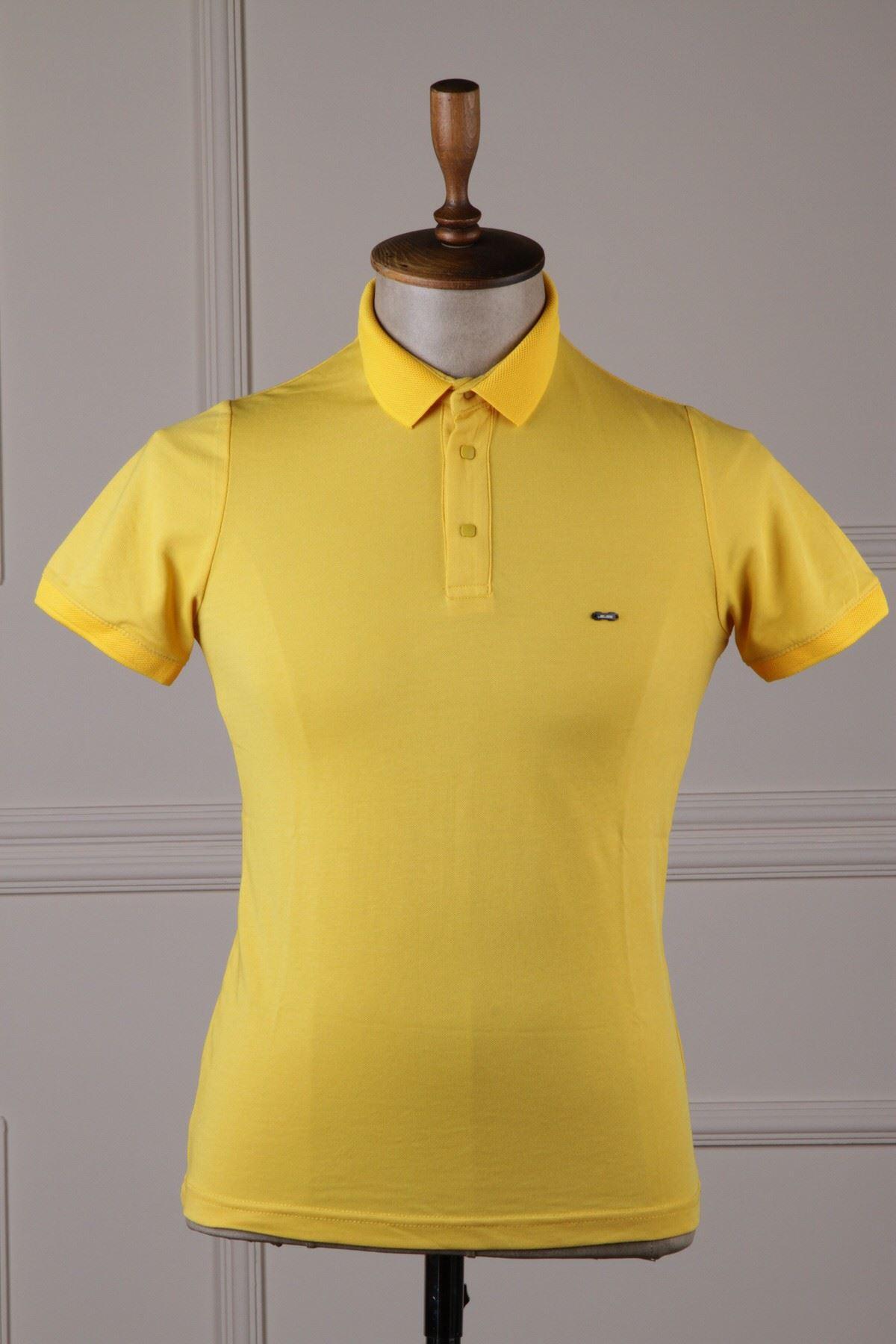 Erkek Polo Yaka T-Shirt - Sarı