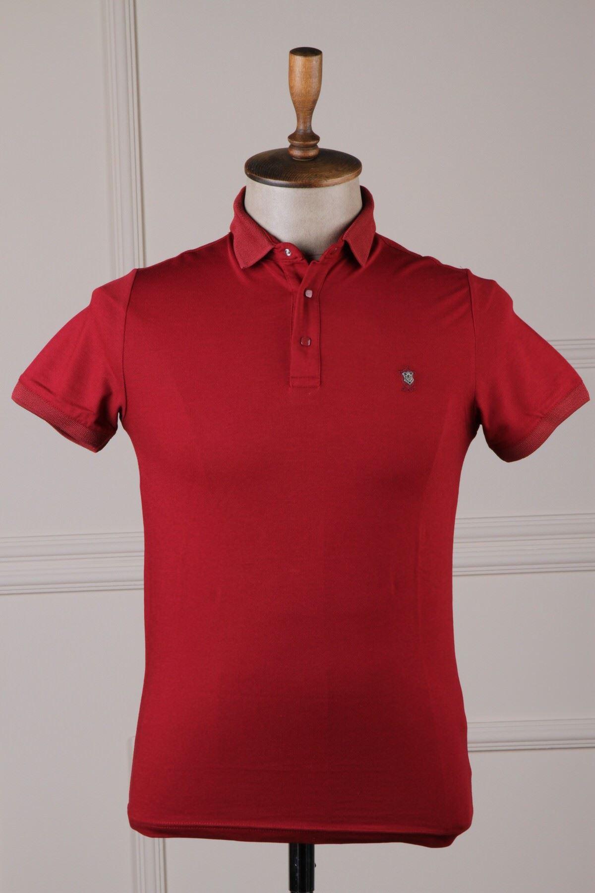 Erkek Polo Yaka T-Shirt - Bordo