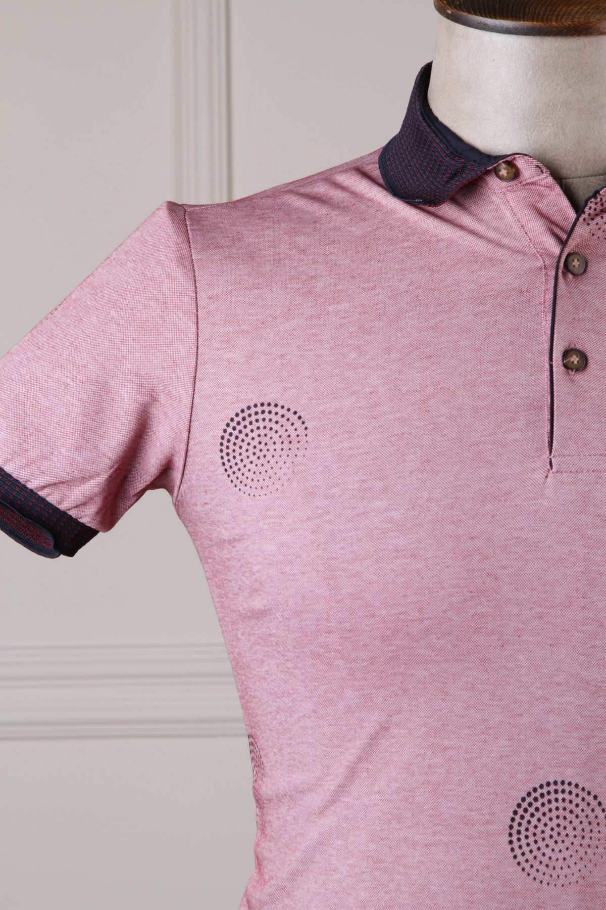 Erkek Desenli Polo Yaka T-Shirt - Gül Kurusu