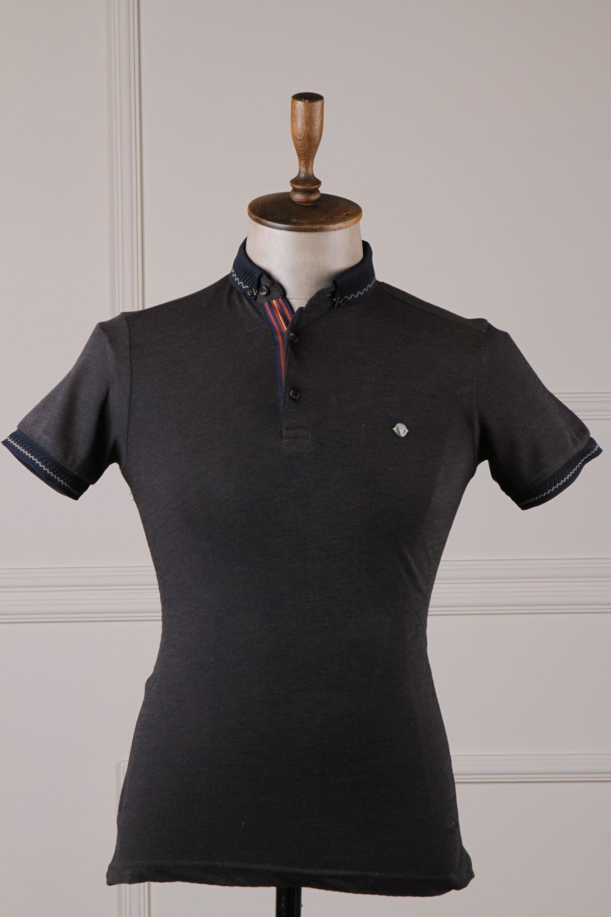 Erkek Nokta Desenli Polo Yaka T-Shirt - Bej