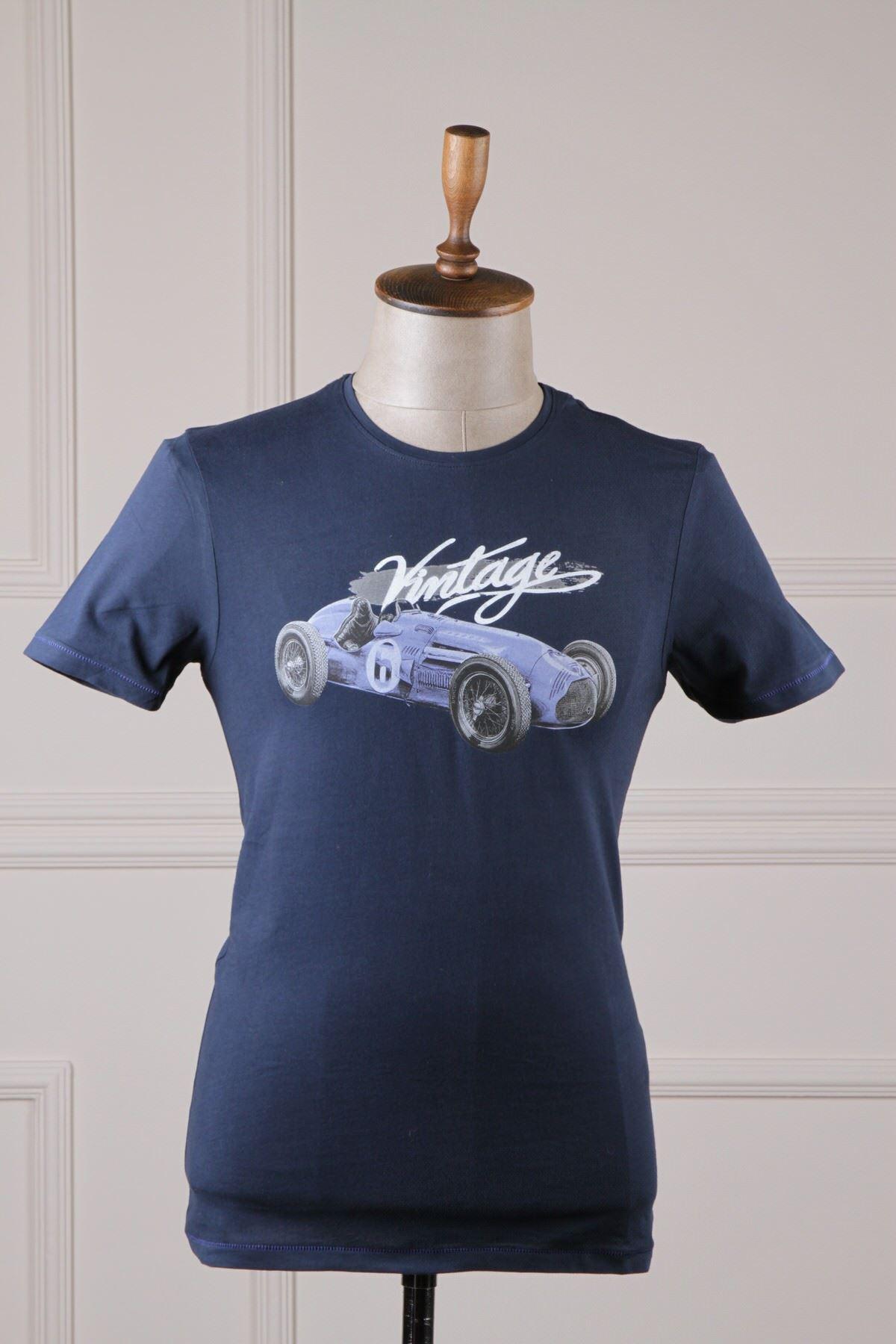Erkek Baskılı T-Shirt - Lacivert