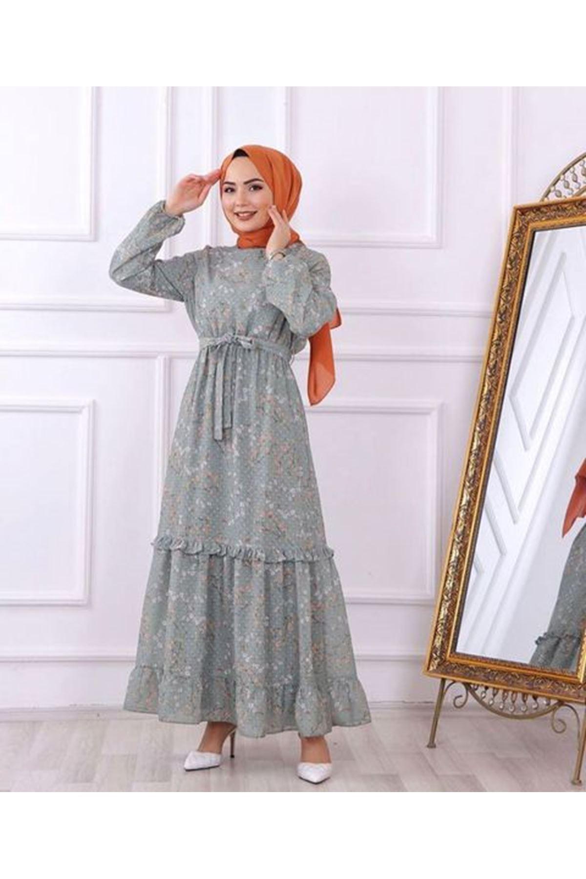 Kadın Desenli Dokuma Elbise - Açık Yeşil