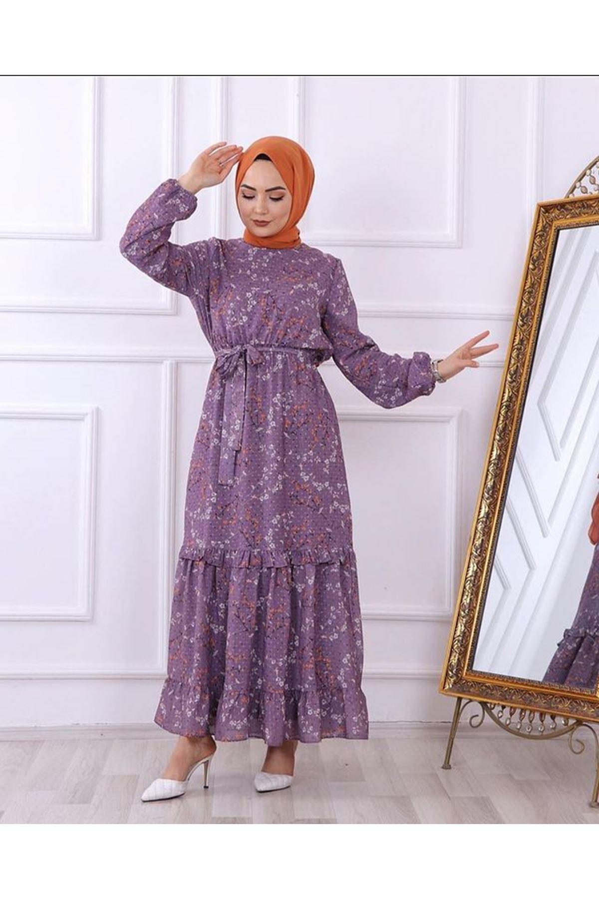 Kadın Desenli Dokuma Elbise - Lila