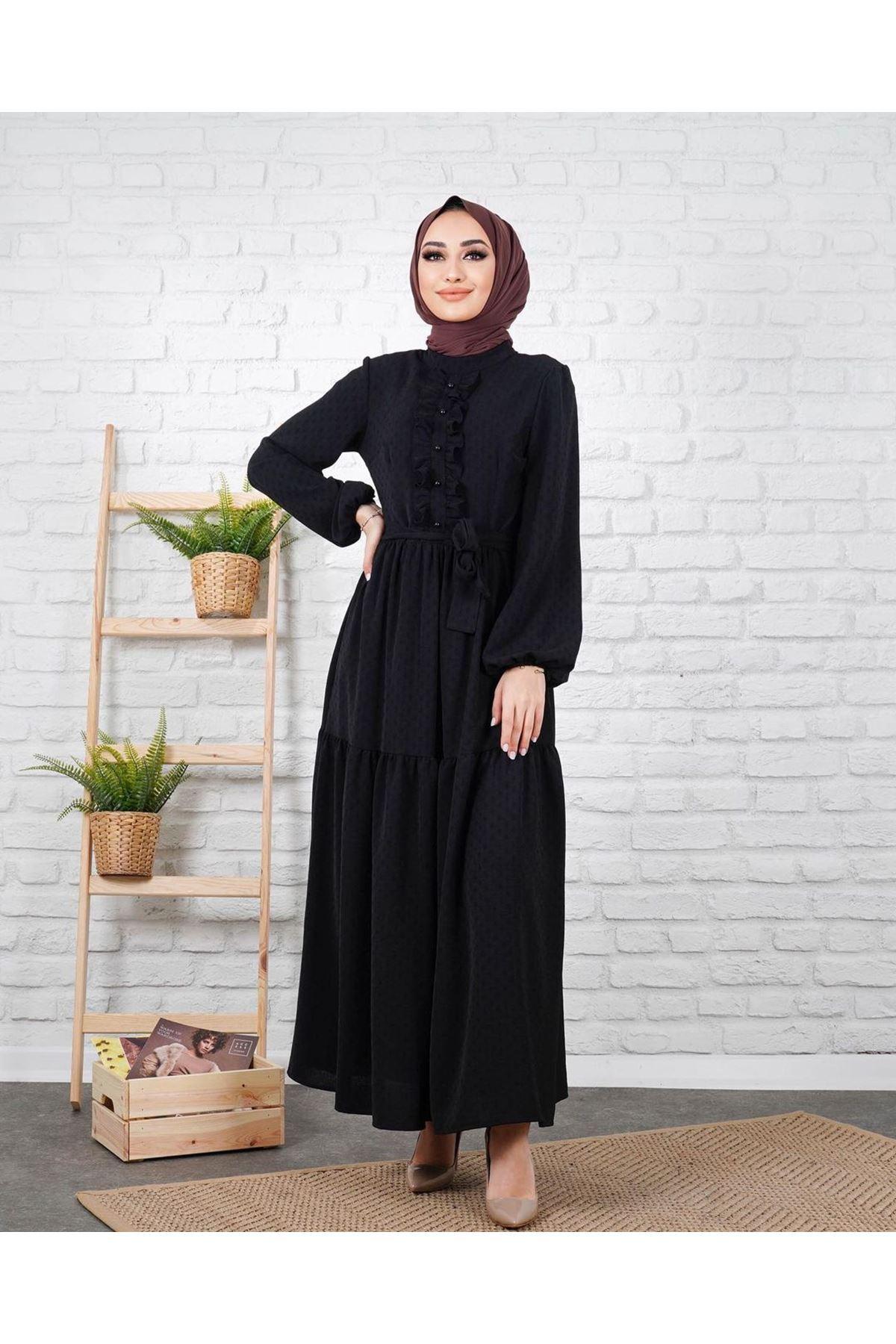 Kadın Petek Dokulu Elbise - Siyah