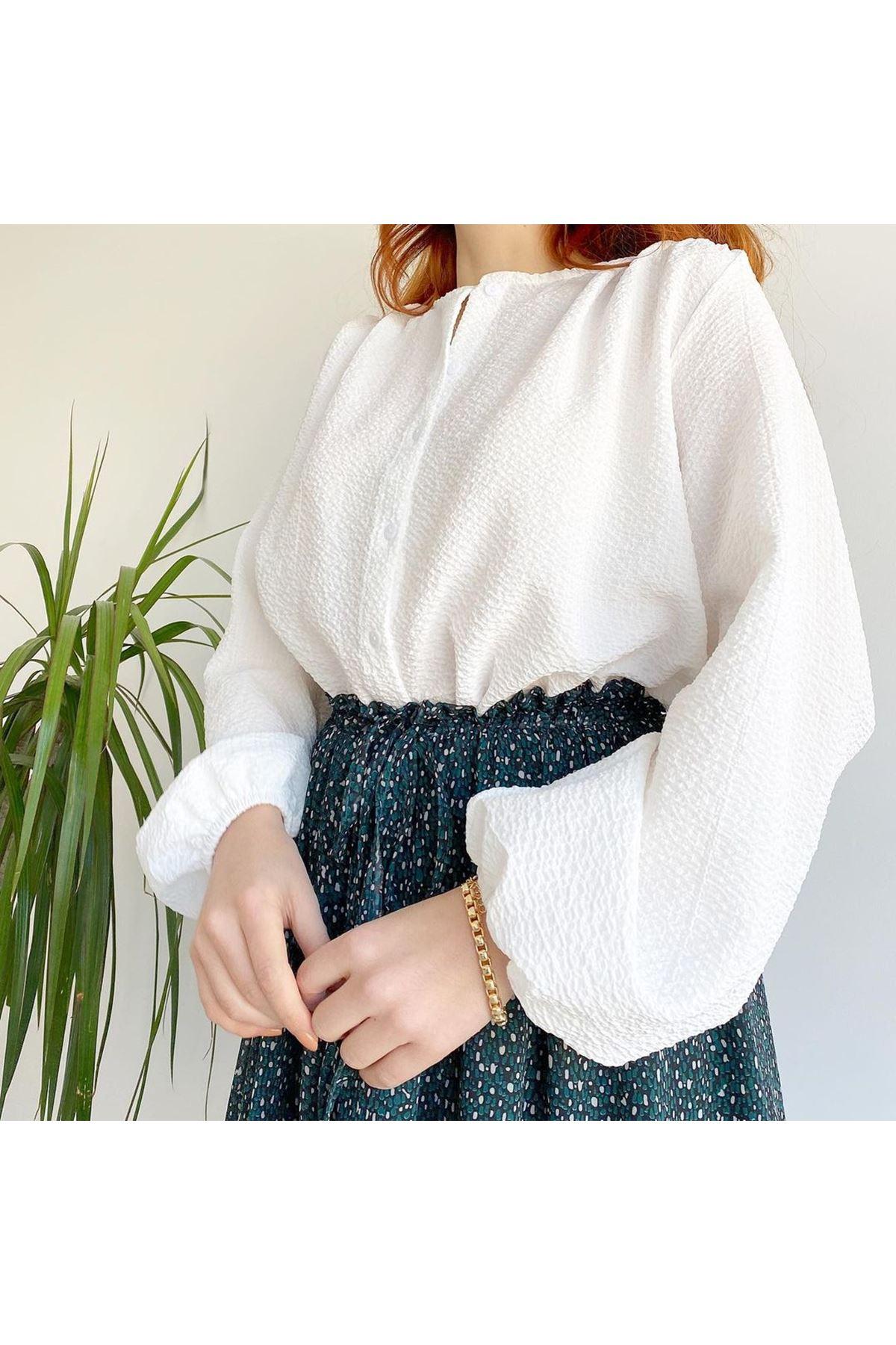 Kadın Kabartma Bluz - Beyaz