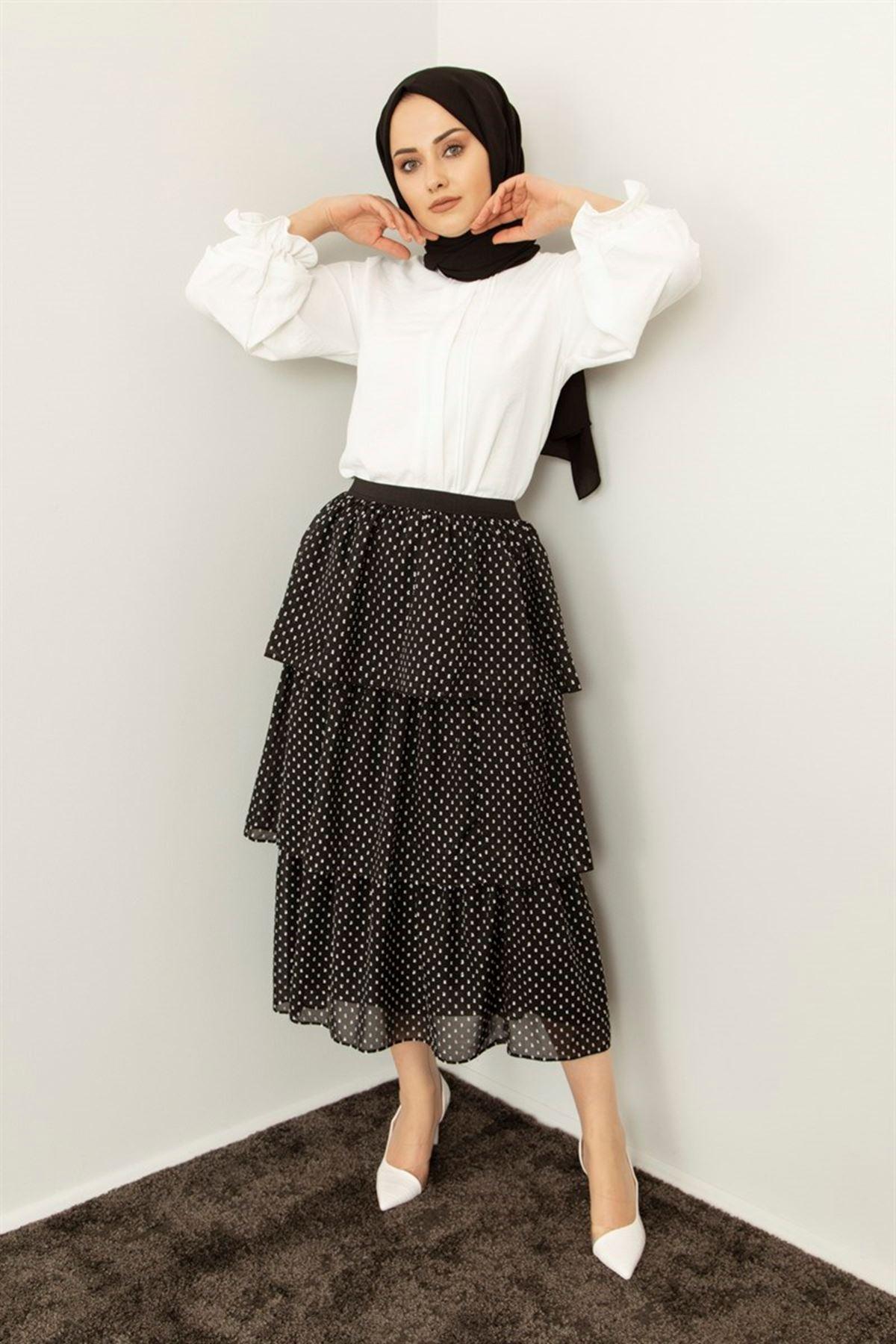 Kadın Puantiye İşlemeli Kat Etek - Siyah
