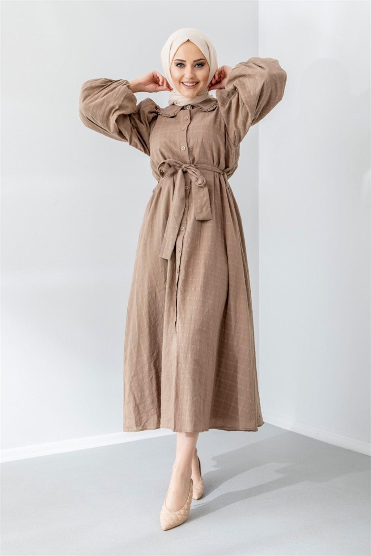 Kadın Boydan Düğmeli Elbise - Vizon