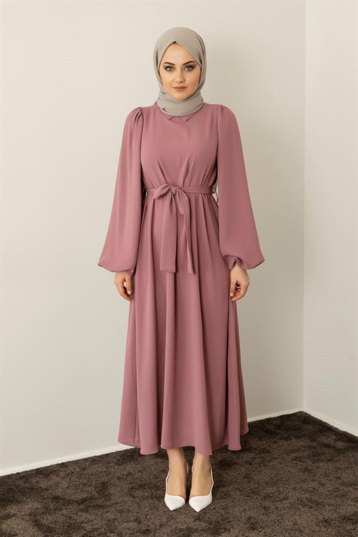 Kadın Omuz Büzgülü Yakalı Seyyar Kemerli Elbise - Gül Kurusu