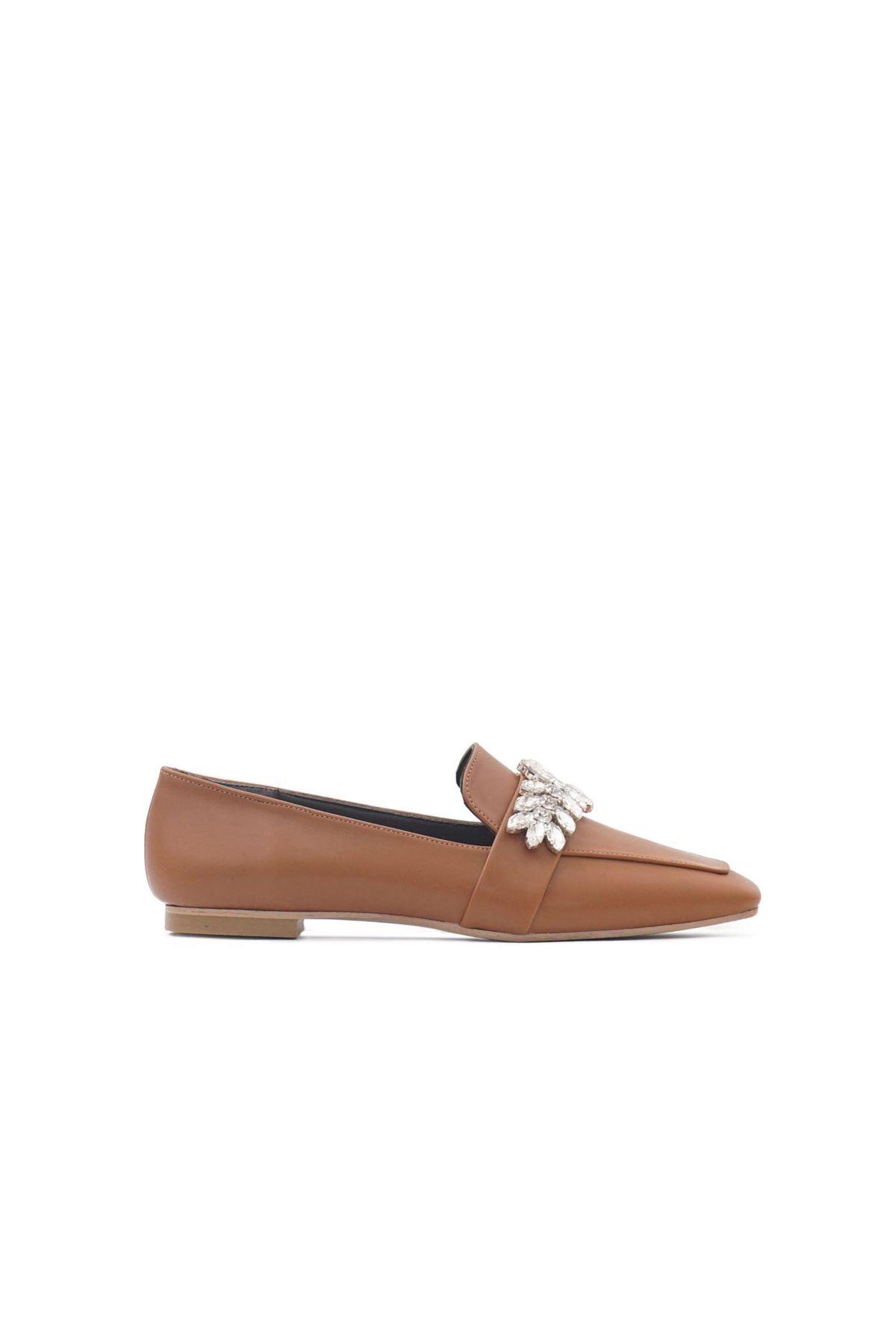Kadın Çiçek Taşlı Loafer Ayakkabı - Taba
