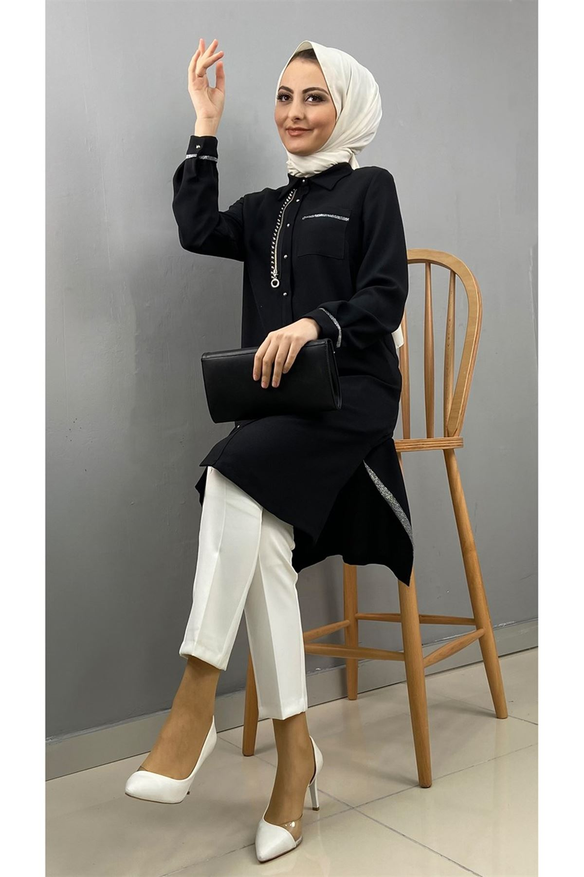Kadın Krep Tunik - Siyah