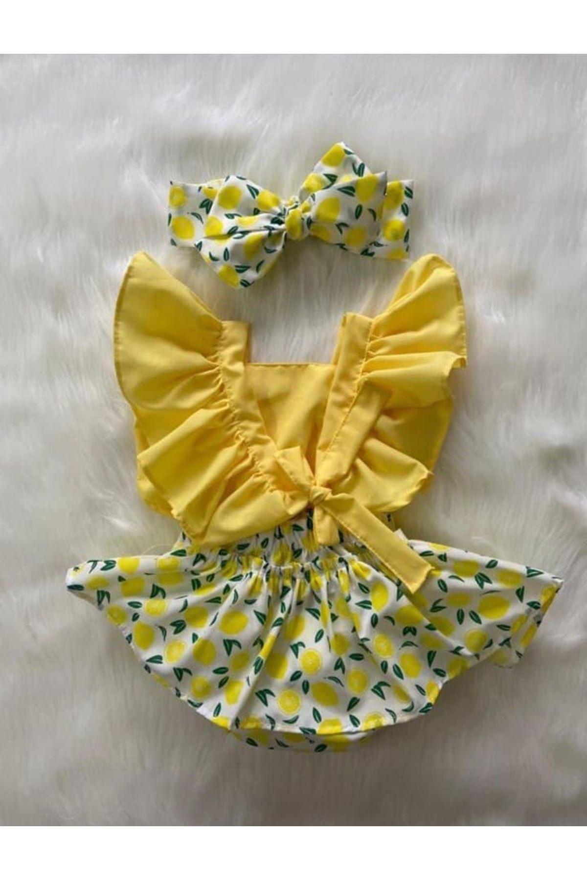 Baby Tuğra Kız Bebek Salopet Elbise - Limon Sarısı