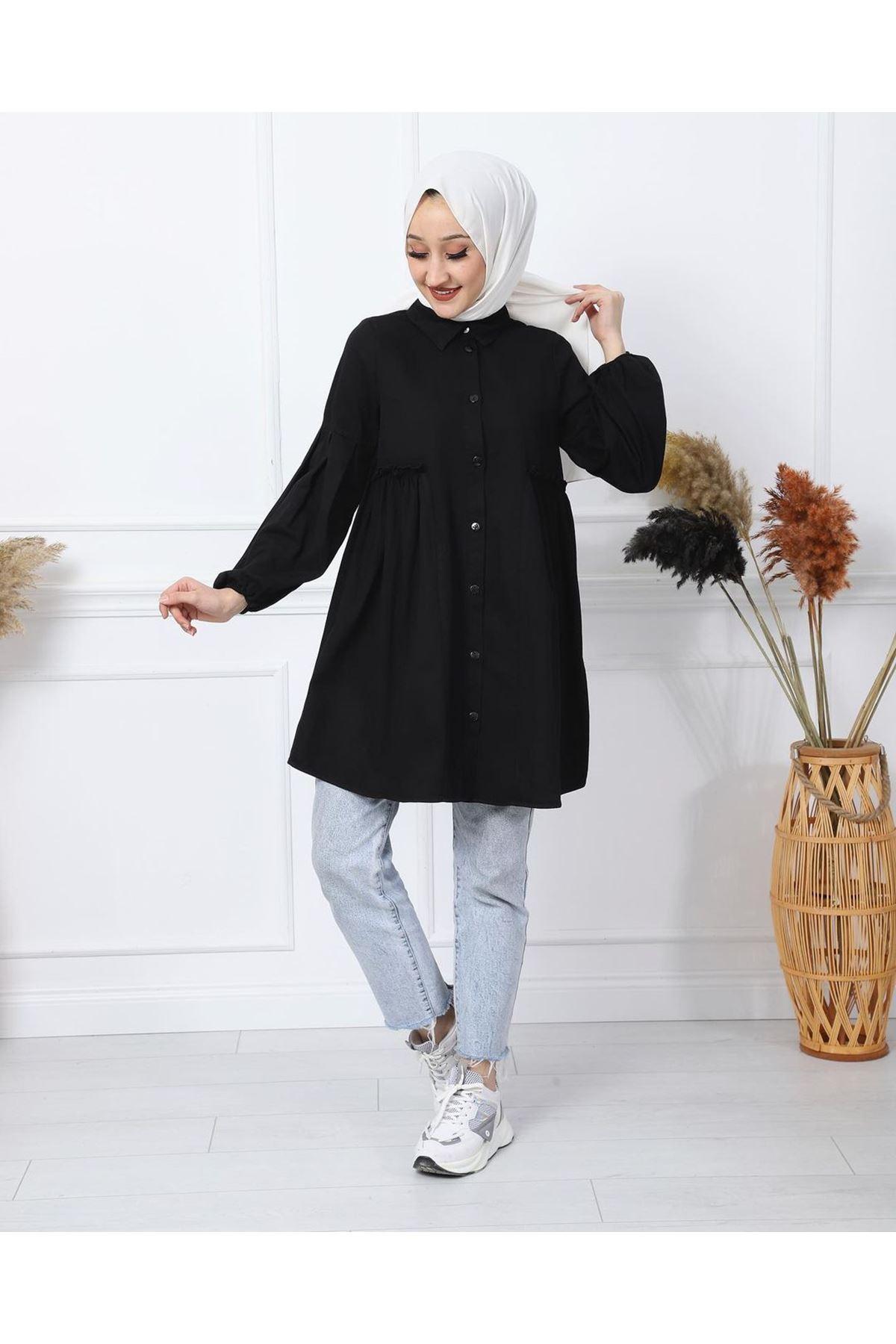 Kadın Kabardin Tunik - Siyah
