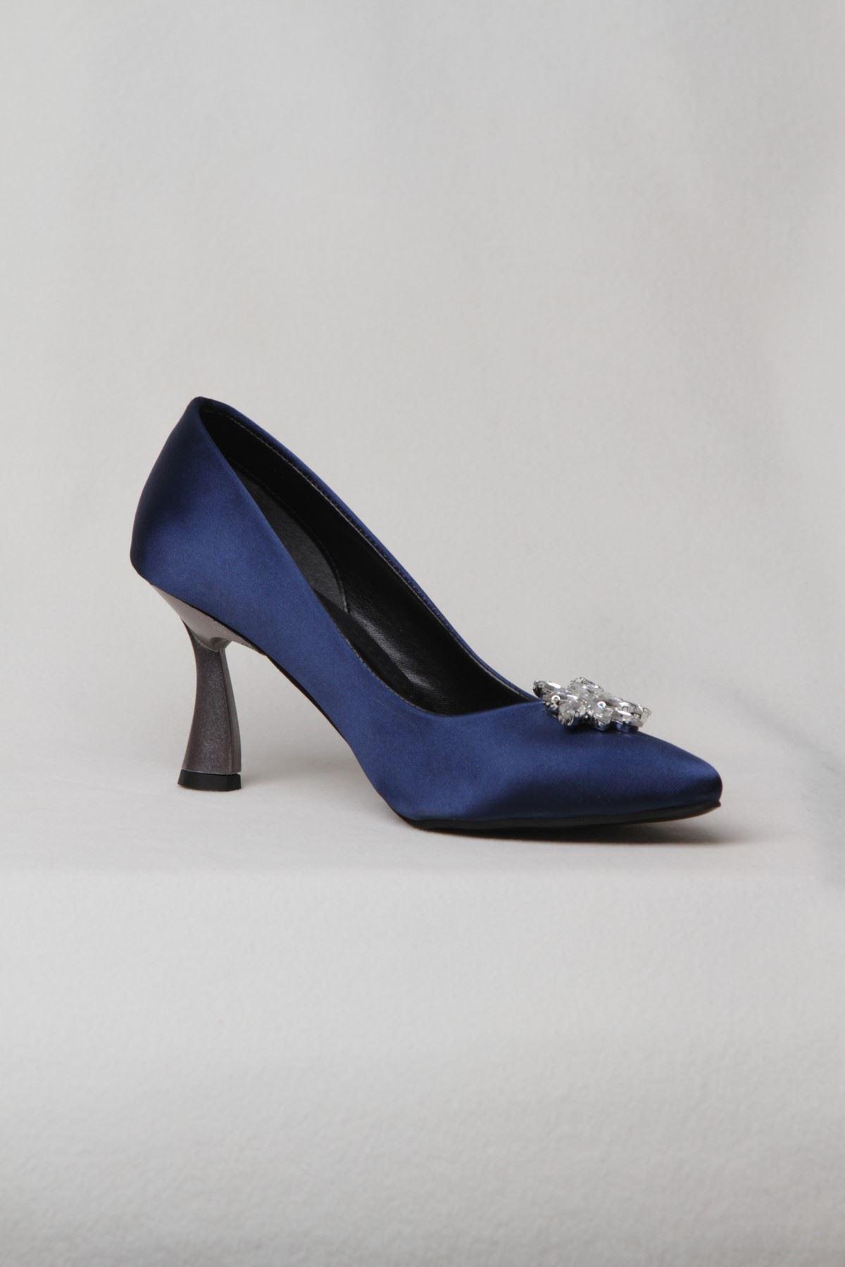 Kadın Yaprak Taşlı Yüksek Topuklu  Abiye Ayakkabı - Lacivert