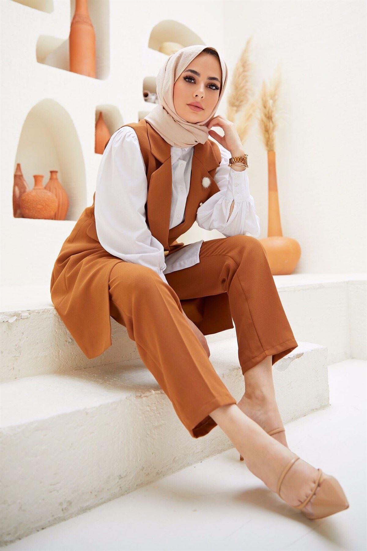 Kadın Business Yelek Pantolon Takım - Tarçın