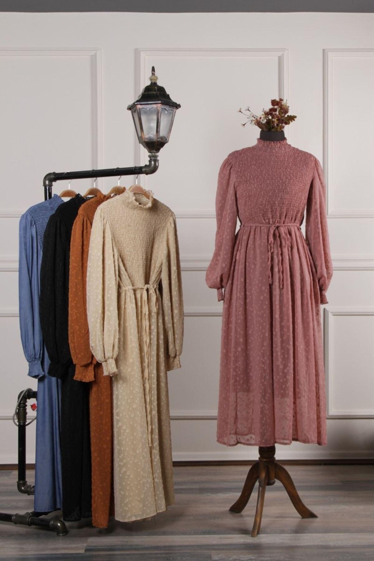 Kadın Kol Büzgülü İşleme Elbise - Pudra