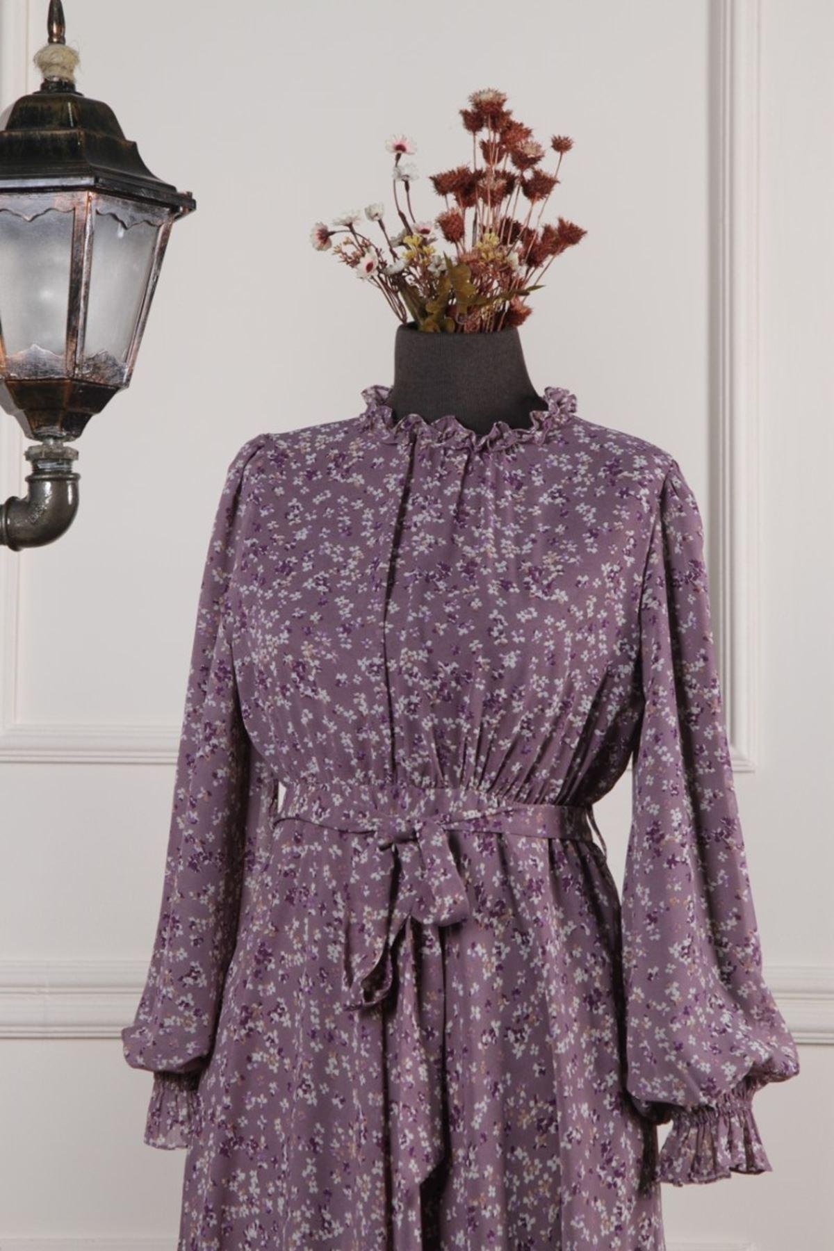 Kadın Kol Büzgülü Desenli Elbise - Lila