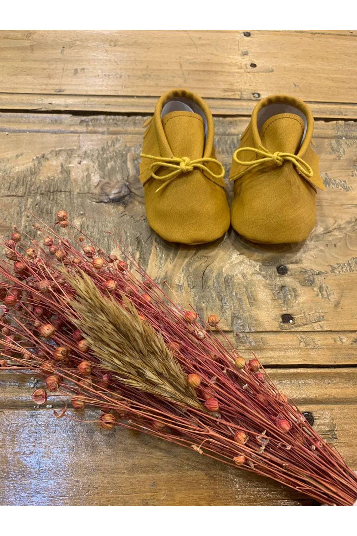 Baby Tuğra Bağcıklı Makosen Patik Bebek Ayakkabı - Hardal