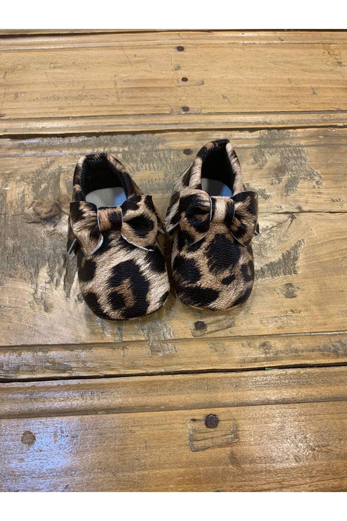 Baby Tuğra Fiyonklu Makosen Patik Bebek Ayakkabı - Leopar