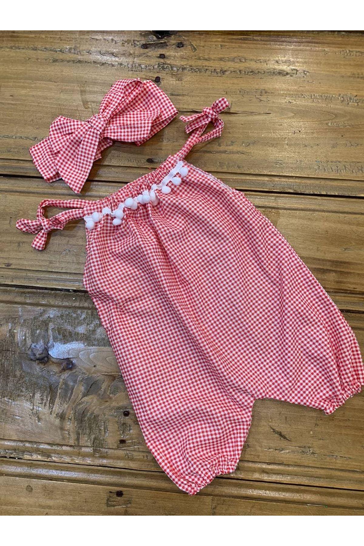 Baby Tuğra Bebek Ponponlu Tulum - Kırmızı