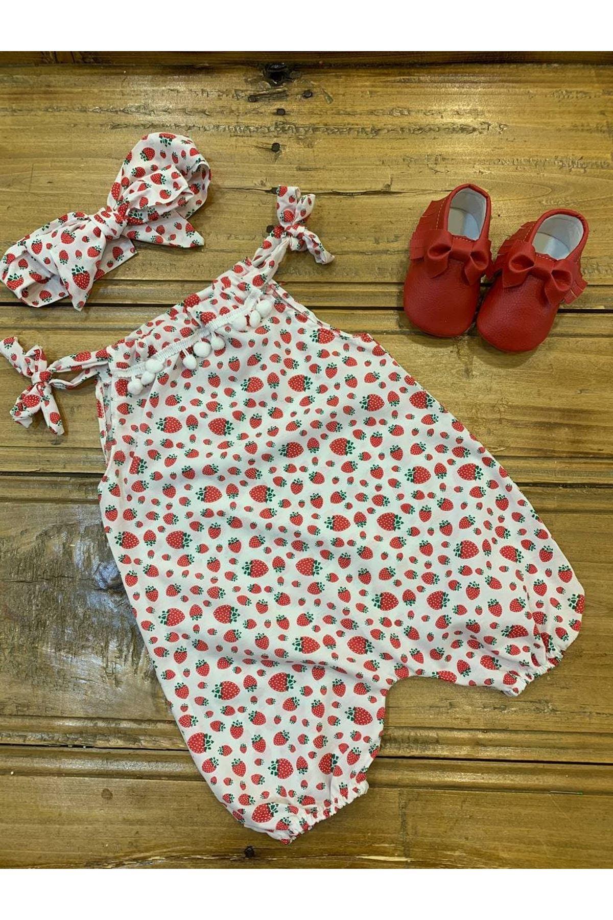 Baby Tuğra Bebek Çilek Desenli Ponponlu Tulum - Beyaz