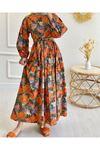 Kadın Desenli Elbise - Oranj